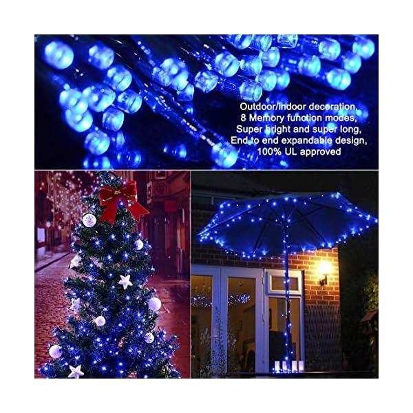Elegear 40M 300LEDs Luci Natale Esterno IP44 Impermeabile Luci Natale Batteria con 8 Modalità Illuminazione, Decorazione per Natale, Giardino, Patio, Albero di Natale - Blu Bianco 6 spesavip