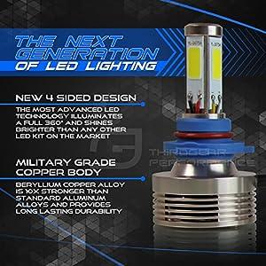 Optix Autolabs 120W 12000LM LED Headlight Conversion Kit - 9007 (HB5) Dual Hi/Lo Beam Bulbs - 6000K 6K Diamond White - Premium 4-Sided Epistar COB Chip - 360 Light Plug and Play Design - 1 Pair