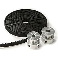 HICTOP Imprimante 3D 2 pièces en aluminium GT2 20T Poulies et 2 mètres Ceinture 6mm pour CNC Reprap Prusa i3