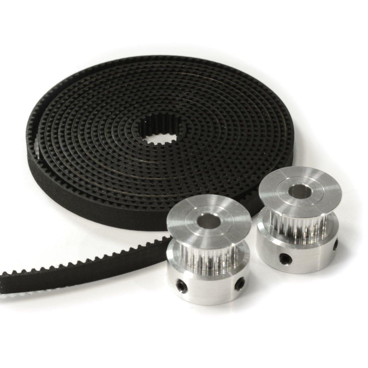 2Pcs gt2 timing pulley 20t 5//8mm 2m belt 6mm width kit for 3d printer reprap XE