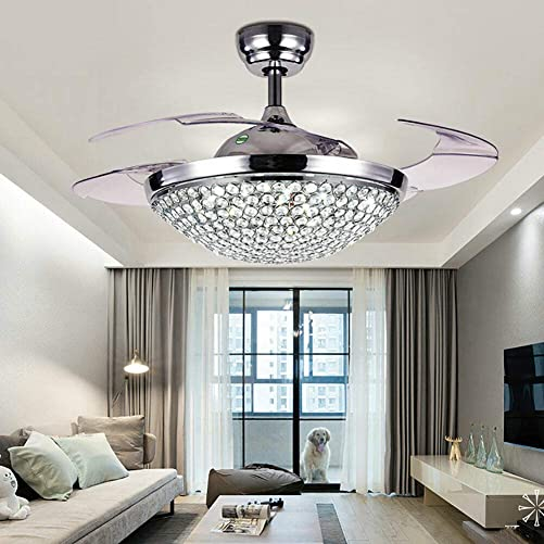 KDHARMR 42'' Modern Lamp Crystal LED Invisible Fan Ceiling Light Adjustable Chandelier 4 Retractable Blade Remote Control Acrylic Silent US Stock