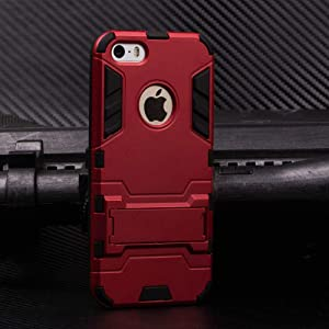 Cocomii Iron Man Armor iPhone SE/5S/5C/5 Case, Slim Thin Matte Vertical & Horizontal Kickstand Reinforced Drop Protection Fashion Phone Case Bumper Cover for Apple iPhone SE/5S/5C/5 (Red)