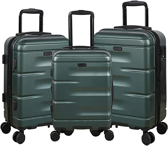 Expandable Luggage 3 Piece Set Suitcase Spinner Hardside with TSA Lock and Dual Wheels, Green