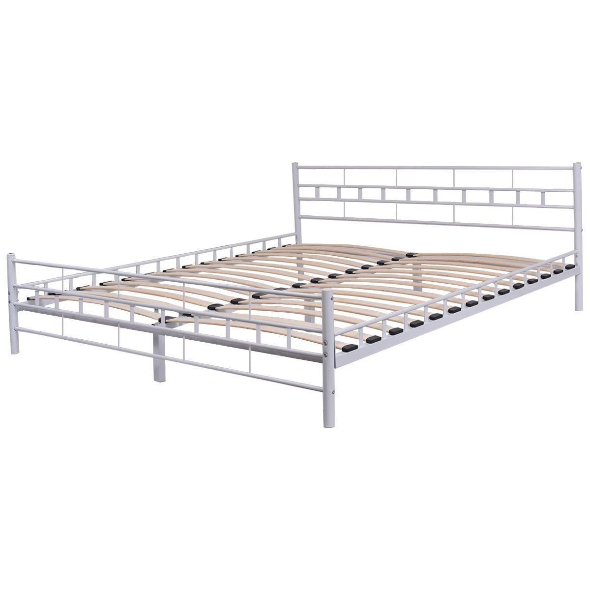Giantex Platform Metal Bed Frame with Headboard Footboard Wooden Slat Support Mattress Foundation, Queen