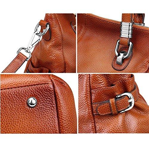 S-ZONE Women's Vintage Genuine Leather Tote Shoulder Bag Top-handle Crossbody Handbags Ladies Purse (Brown) by S-ZONE (Image #6)