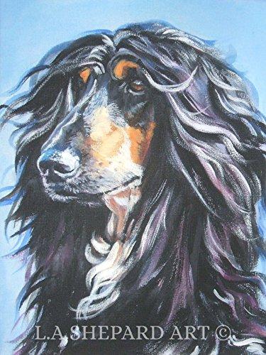 An Afghan Hound dog art portrait print of an LA Shepard painting -