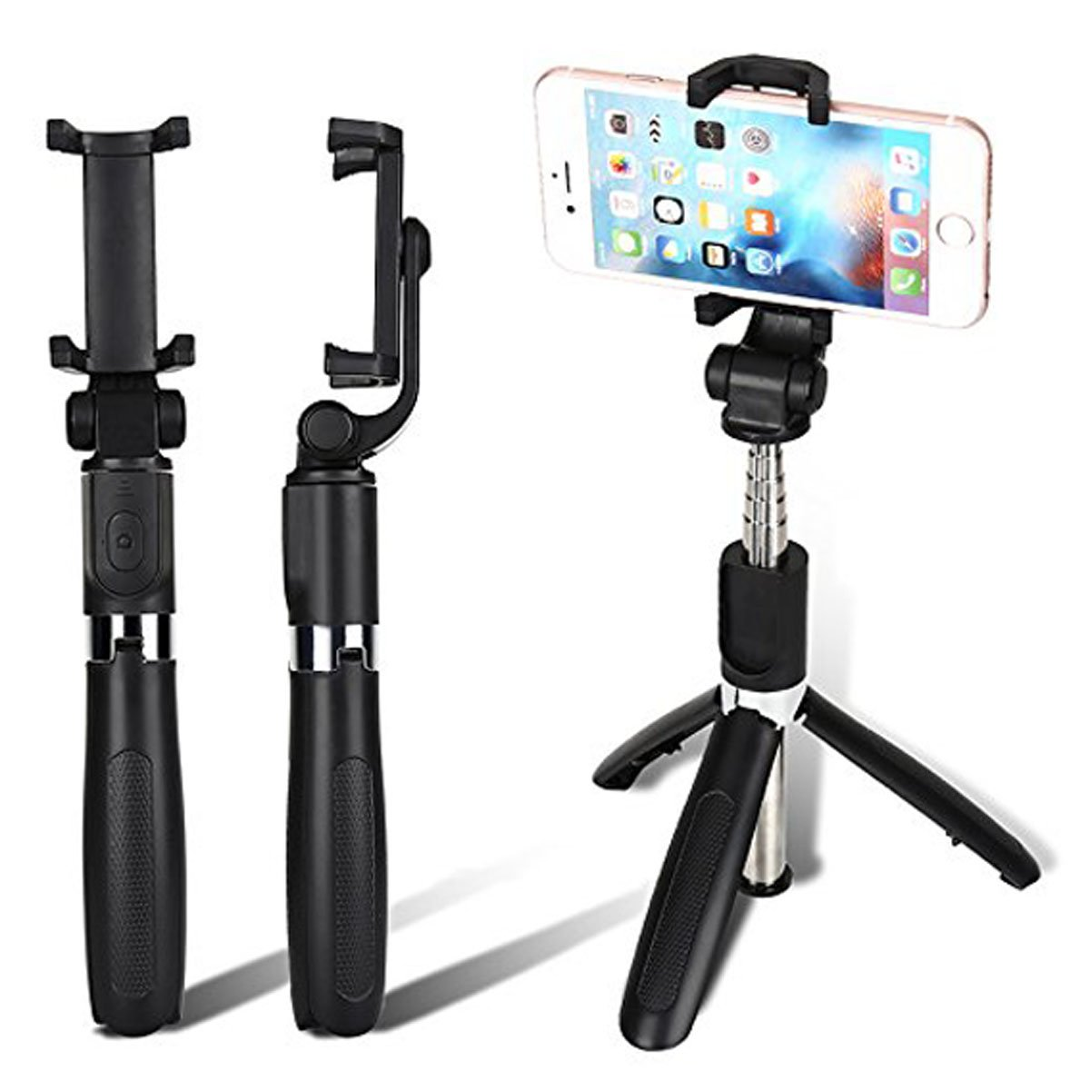 BelinlaAny Bluetooth Selfie Stick Tripod Extendable for iPhone X/iPhone 8/8 Plus/iPhone 7/iPhone 7 Plus/Huawei/Samsung/S9/S9 Plus/Note 8/S8/S8 Plus/More(Black) (black)