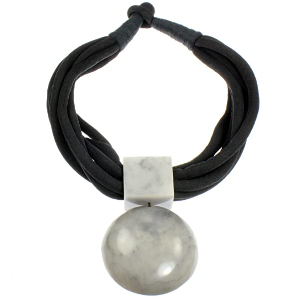 Oversized large round grey resin statement pendant black fabric choker necklace