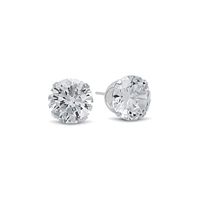 Heather Needham Silver - Large Sterling Silver Cubic Zirconia Stud Earrings - SIZE: 10mm. Gift Boxed 5771CZ/B41HN OHyNc