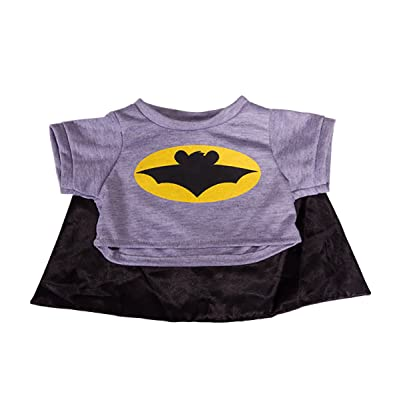 "Bat Bear T-Shirt With Cape Teddy Bear Clothes Fits Most 14"" - 18"" Build-A-Bear and More: Toys & Games"