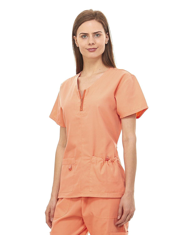 744741d152c Denice Womens Medical Uniforms Mackenzie Zip Neckline Nurses Scrubs Set  1054 (Medium, Orange): Amazon.ca: Clothing & Accessories