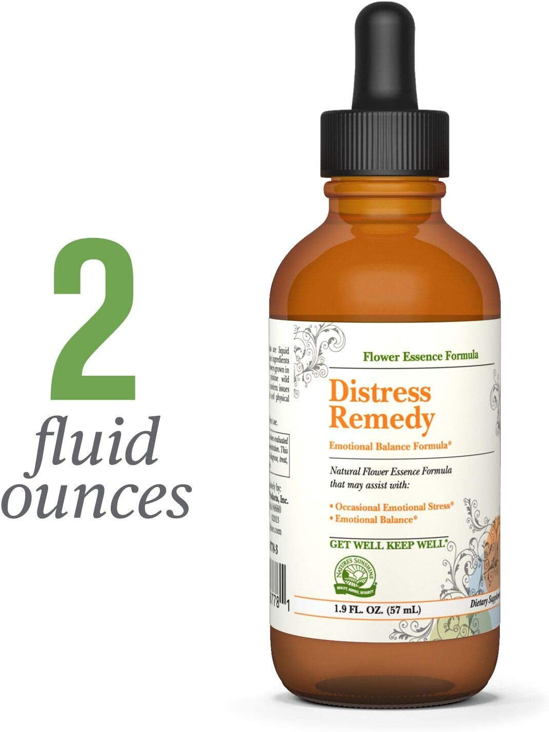 Nature s Sunshine Distress Remedy, Flower Remedy, 2 fl. oz. Supports Emotional Balance and Helps with Occasional Feelings of Distress