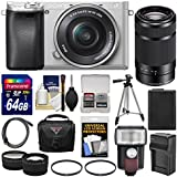 Sony Alpha A6300 4K Wi-Fi Digital Camera & 16-50mm (Silver) with 55-210mm Lens + 64GB Card + Case + Flash + Battery & Charger + Tripod + Filters + Kit