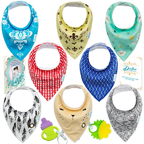 Dicaro Unique Baby Bandana Drool Bibs, Unisex 8-Pack for Boys&Girls, 100% Cotton, Terry Cloth, Fleece Materials, Super Soft &Absorbent and Hypoallergenic Bibs,Includes 2 Baby Teethers from DICARO for kids & babies