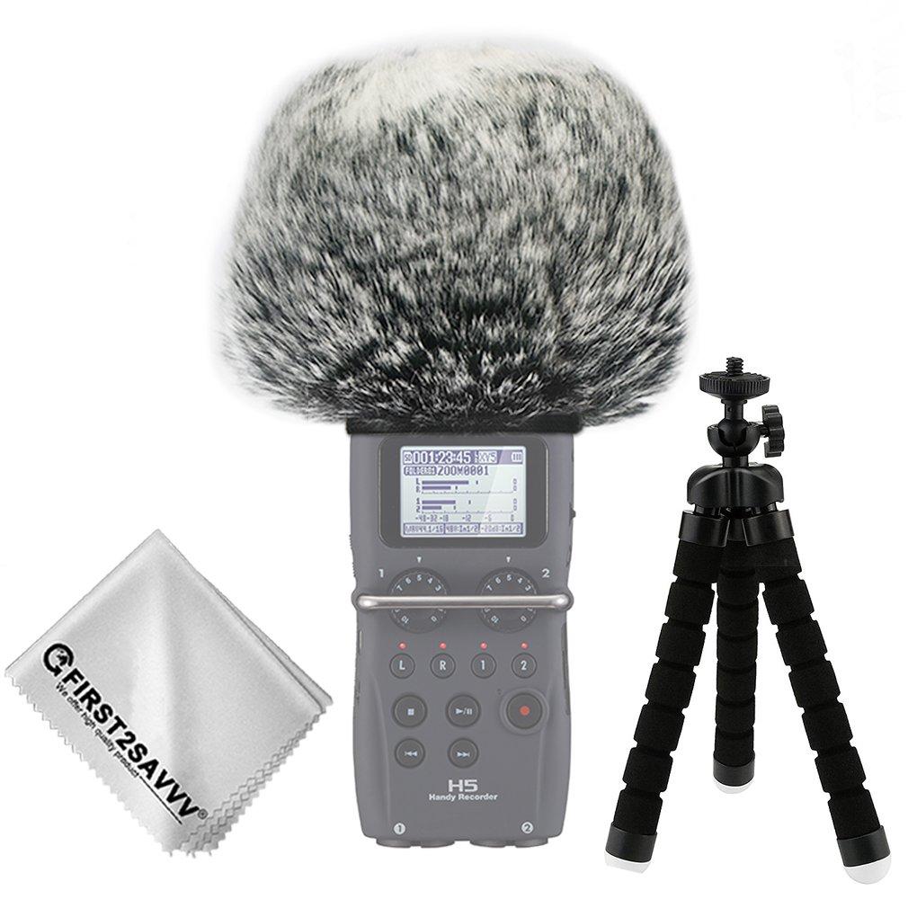 First2savvv Bonnette anti-vent Furry à l'extérieur pour enregistreurs numériques portables pour Zoom H4n Pro . H4n pro+ + Trépied + chiffon de nettoyage TM-DM-H4NPro-A01TZ3 HSJDKSHJKH004