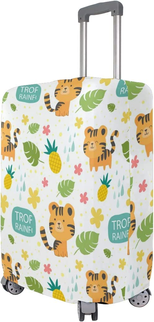 FOLPPLY Cute Tiger Tropical Palm Pineapple Luggage Cover Baggage Suitcase Travel Protector Fit for 18-32 Inch