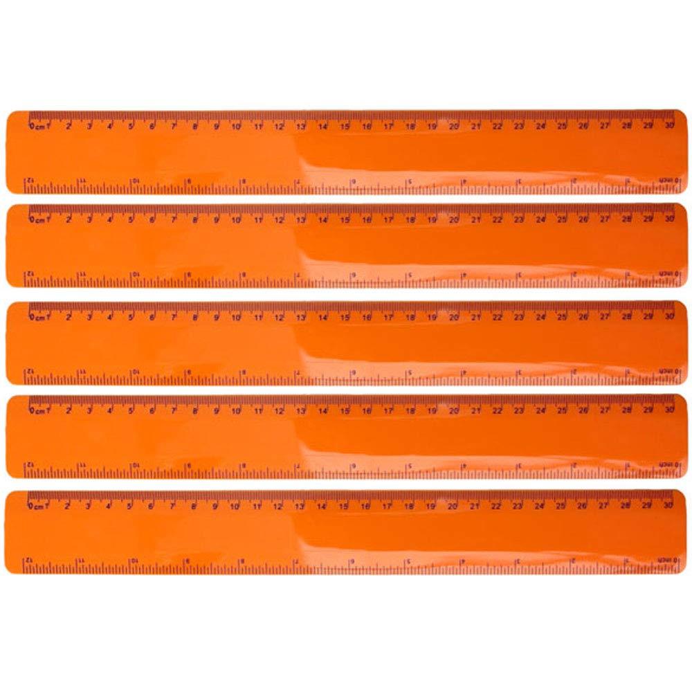 Blau 5er Set flexibles Lineal Kunststoff sechs verschiedene Farben Geometrie Messen B/ürobedarf L/änge 30 cm von notrash2003