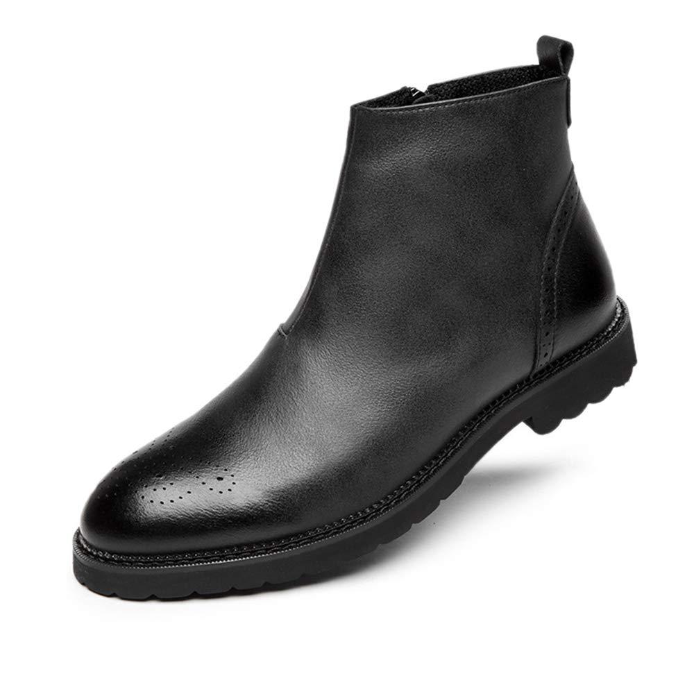 Qiusa Winter Stiefeletten für Männer weiche Sohle Rutschfeste dauerhafte Echtleder Stiefel (Farbe   Schwarz, Größe   EU 41)