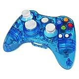 Xbox 360 wireless controller,Uniway XC03 transparent Xbox controller wireless PC Gamepad with LED-Blue