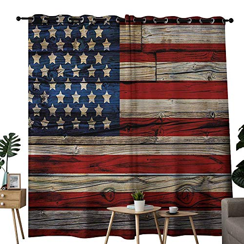 """Thermal Insulated Blackout Curtains 4th of July Wooden Planks Painted as United States Flag Patriotic Country Style Grommet Curtains for Bedroom 84"""" W x 84"""" L Red Beige Navy Blue"""