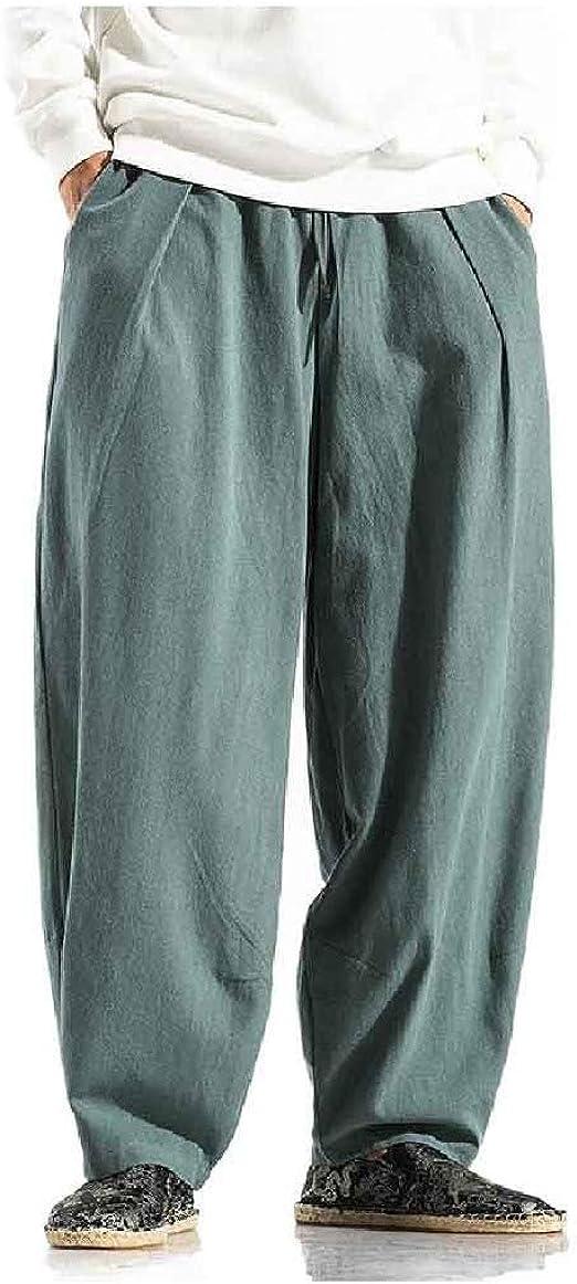 VITryst メンズルーズ リラックス フィット ハーレム コットン リネン プラス サイズ ジョガー パンツ