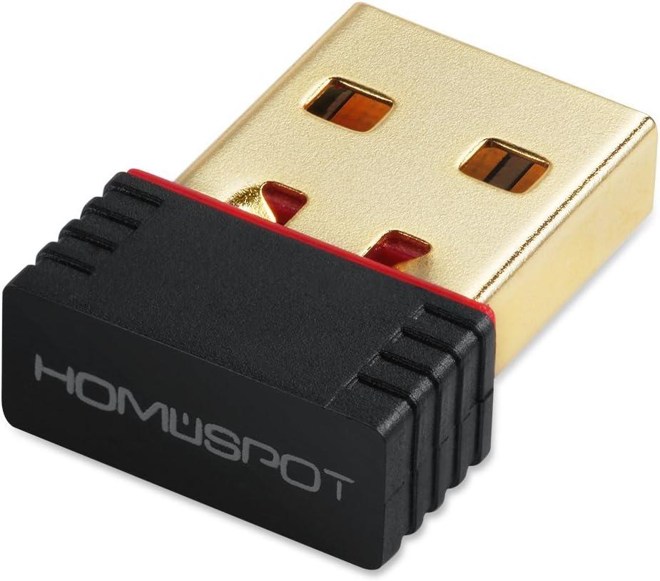 HomeSpot - Adaptador inalámbrico N WiFi USB Nano de 150 Mbps, Tarjeta LAN de Red 802.11n, para Raspberry Pi/Windows XP/Vista/Win7/Win8/Win10/Linux/Mac OS