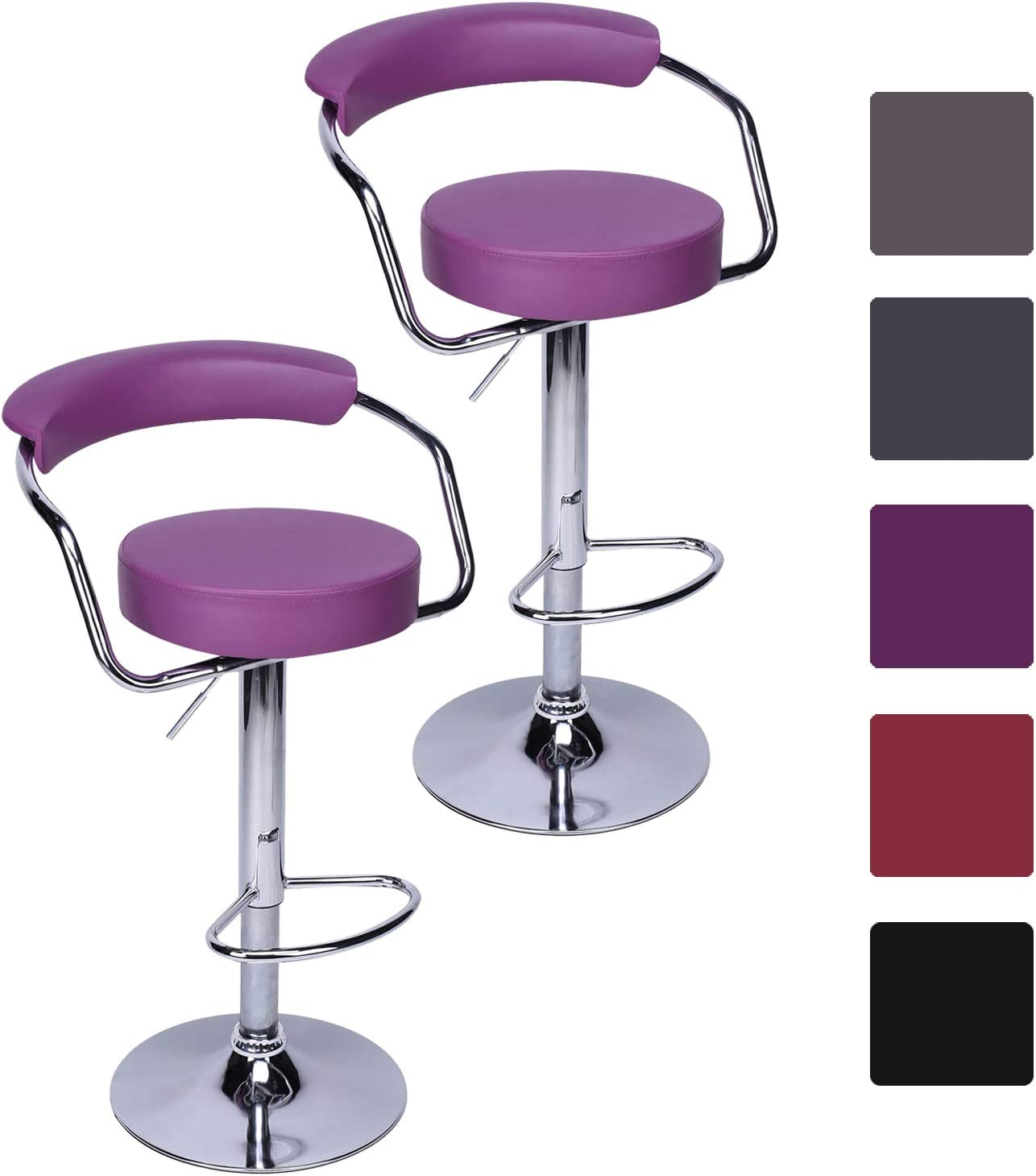 Colore:Viola CCLIFE Sgabello da Bar Sedia Cucina con Schienale Cromato Altezza Regolabile Girevole multicolori Dimensione:2pz-Set