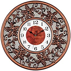 Bernhard Products Decorative Mirror Wall Clock Large 20 Inch - Bronze 3D Flower Design, Silent Non-Ticking Clocks for Home/Kitchen/Bedroom Decor, Wedding or Housewarming Gift
