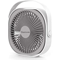 Stansom Desk Fan, Rechargeable Portable USB Desktop Fan With 360° Rotation, Adjustable 3 Speeds Strong Wind Airflow and…