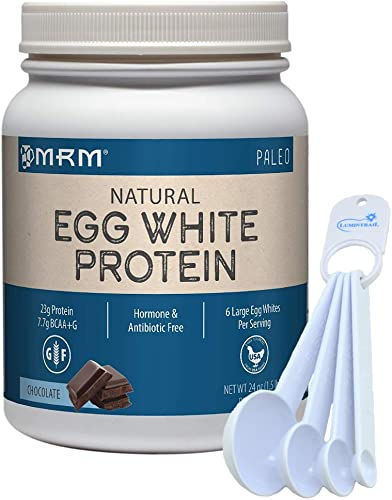 MRM Egg White Protein Powder, Paleo, 6 Egg Whites Per Serving, 24 oz Chocolate Bundle with a Lumintrail Measuring Spoon Set