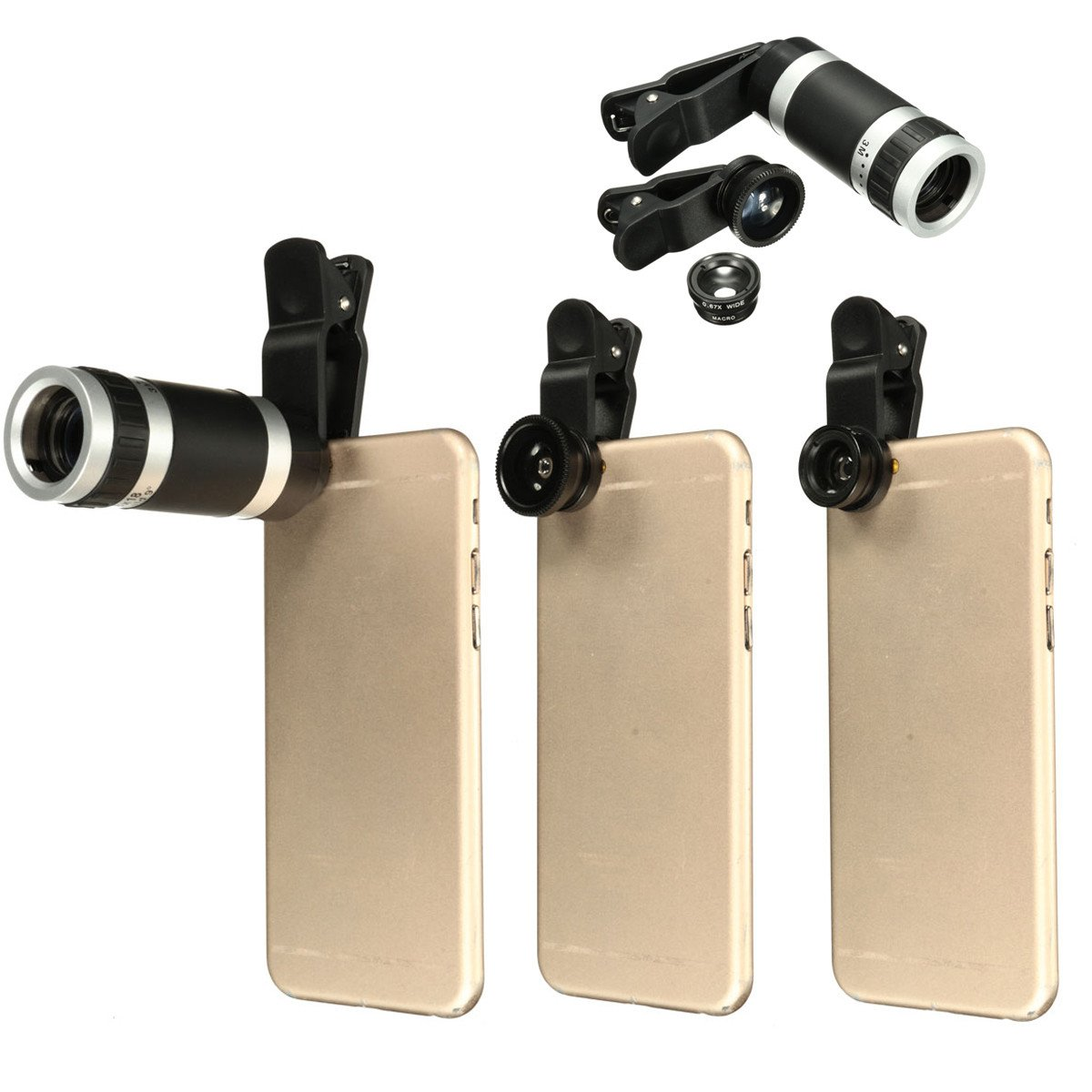 M.Way Universal 4 In 1 Clip-On Cell Phone Lens Kit Fisheye + Wide Angle + 8X .. 14