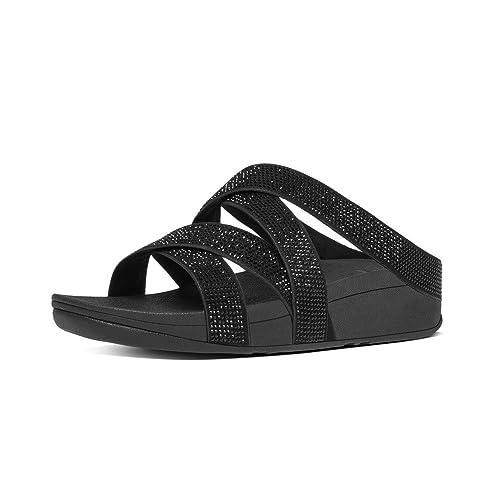 Fitflop Women's Slinky Rokkit Criss-Cross Slide Open-Toe Sandals, Black (All