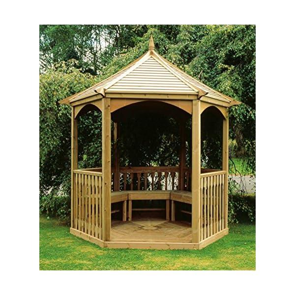 MIO-GIARDINO Brompton - Gazebo esagonale in legno per giardino - tetto in legno - pavimento incluso - misure : 240 x 208… 3 spesavip