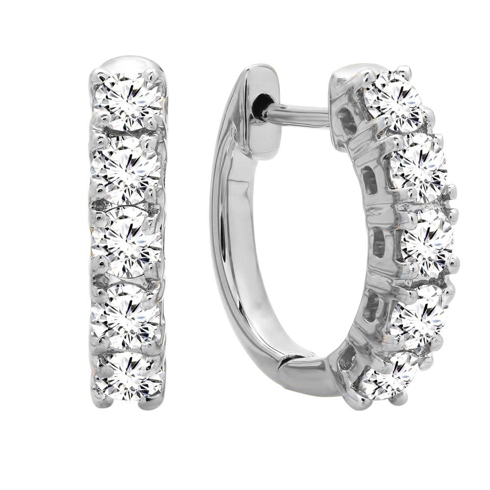 Dazzlingrock Collection 0.50 Carat (ctw) 14K Real Round Cut White Diamond Ladies Huggies Hoop Earrings, White Gold