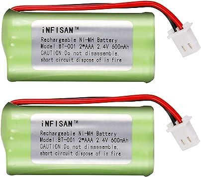 iNFISAN NI-MH - Batería Recargable para teléfono inalámbrico (2 Unidades, 2,4 V, 2 AAA, 600 mAh): Amazon.es: Electrónica