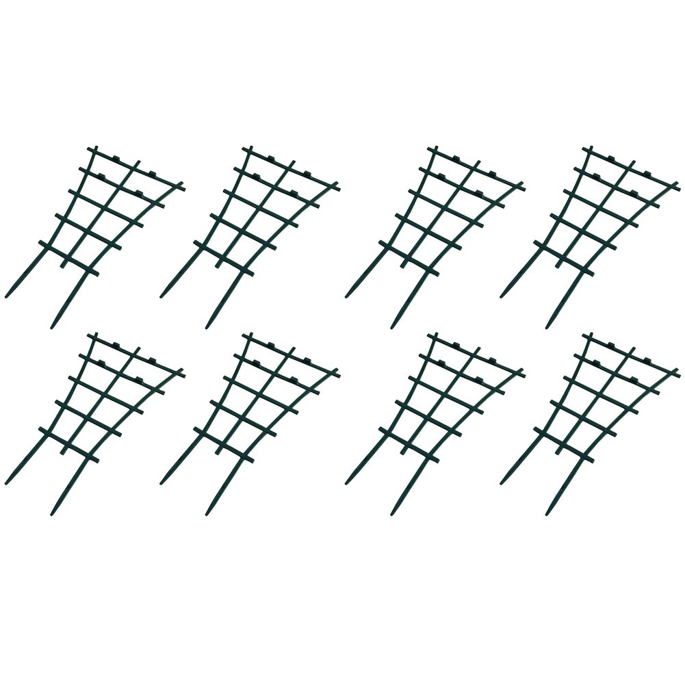 Olpchee 8Pcs Dark Green Plastic Mini DIY Garden Trellis Superimposed Flower Support Plant Winding Climbing Supports