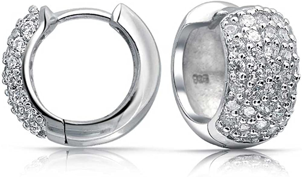Mia Diamonds 925 Sterling Silver Rhodium Plated Hollow Hoop Earrings 15mm x 13mm