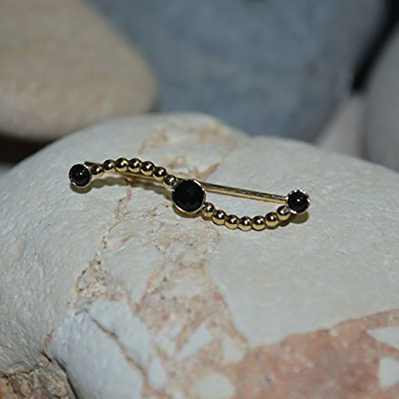 Onyx EAR CLIMBER Earrings//14k Gold Filled Ear Pins - Up The Ear Earrings - Ear Sweep - Ear Wrap - Ear Crawler - Ear Cuff