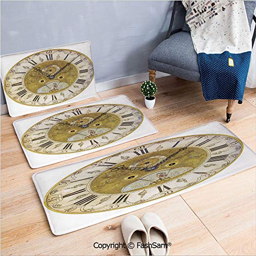 3 Piece Non Slip Flannel Door Mat Vintage Theme A Seventeenth Century Ornamental Clock Face with Roman Numeral Indoor Carpet for Bath Kitchen(W15.7xL23.6 by W19.6xL31.5 by W15.7xL39.4)