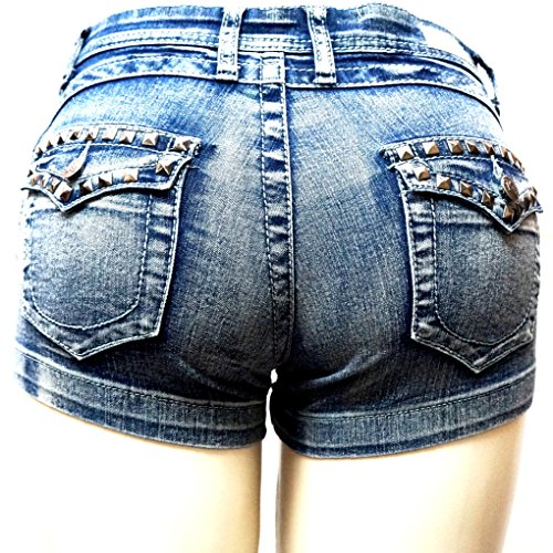 Women's Juniors Classic Perfect Fit Mid-Rise Blue Denim Jeans Shorts (Blue Acid 1747SH, 7) by JEANS FOR LOVE (Image #3)