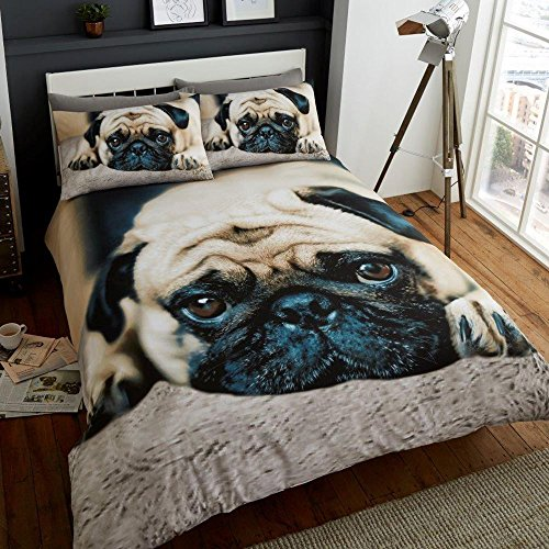 2 Piece UK King /US Queen Sheet Set, 1 x Double Sided Sheet and 2 x Pillowcases (Set Sheet Pug)
