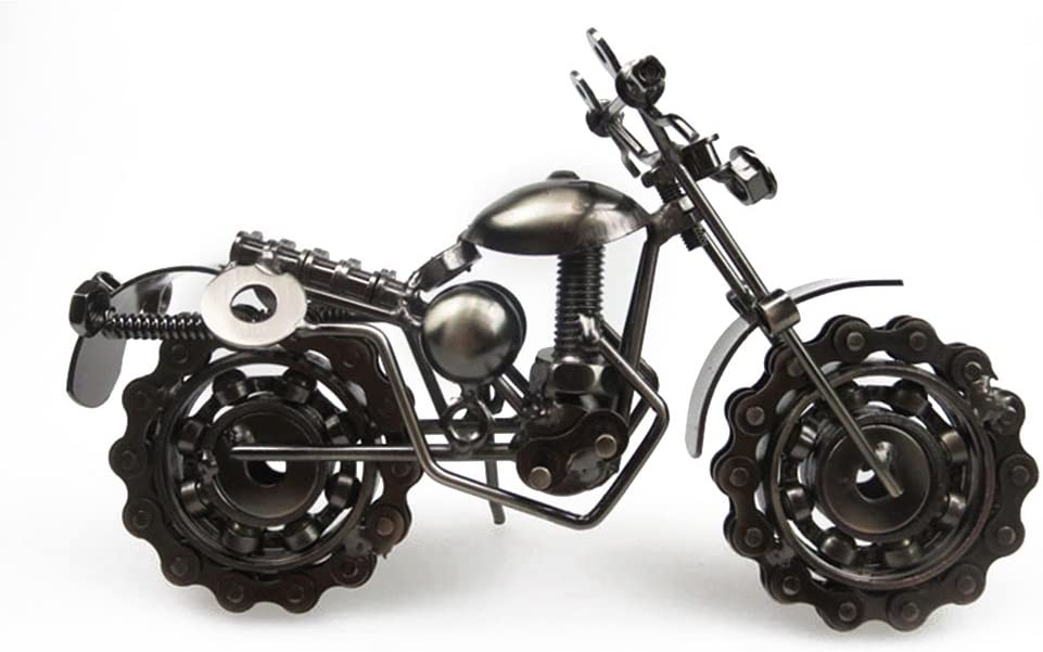 Pixnor Vintage artesanal hierro Metal motocicleta modelo Coleccionables Arte Metal moto Chainwheel escultura