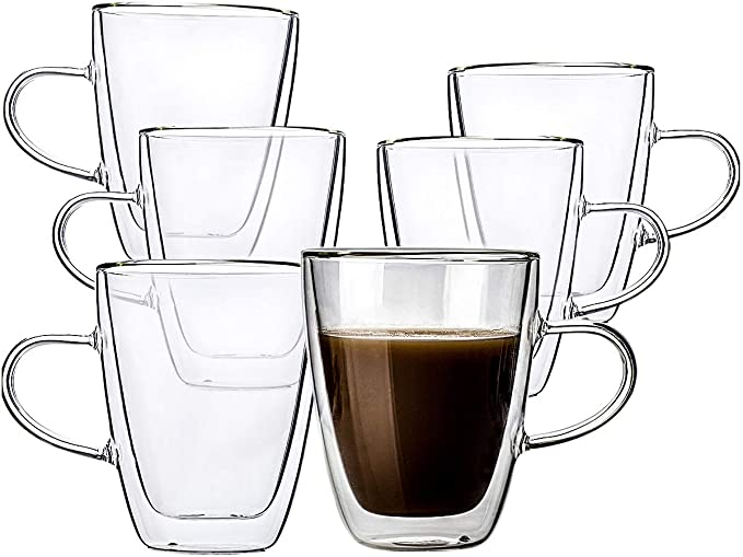 2 Pack Double Wall Glass Coffee Mugs with Handle,Insulated Coffee Espresso Cups