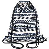 Peicees Canvas Drawstring Backpack with Zipper Pocket Gymsack Drawstring Bag Sport Sackpack Travel School Backpack for Men Women Boys and Girls(Blue 2)