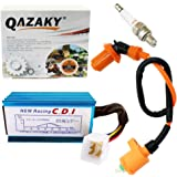 QAZAKY Performance Racing Ignition Coil + Spark Plug A7TC + 5 Pins CDI Replacement for GY6