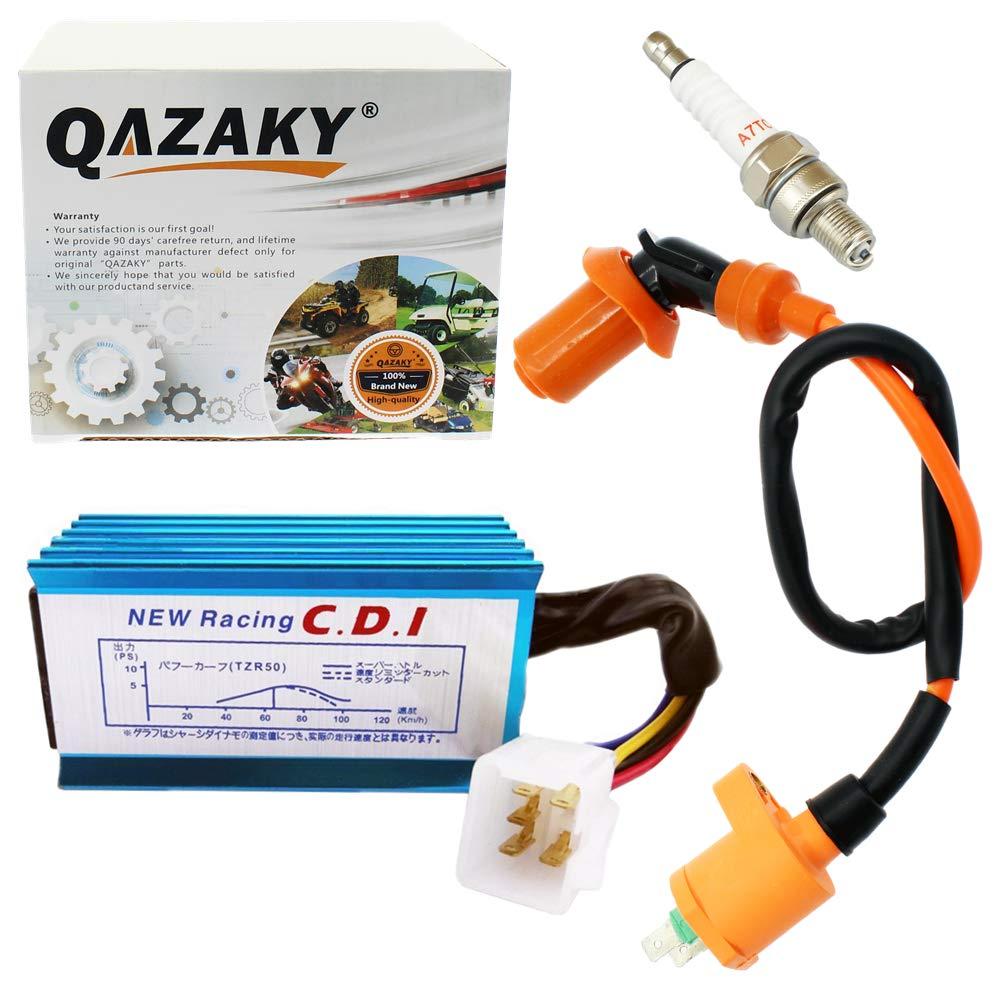 QAZAKY Performance Racing Ignition Coil + Spark Plug A7TC + 5 Pins CDI Compatible with GY6 4-Stroke 50cc-110cc 125cc 150cc Scooter ATV Go Kart Moped Quad Pit Dirt Bike 139QMB 152QMI 157QMJ XR50 CRF50