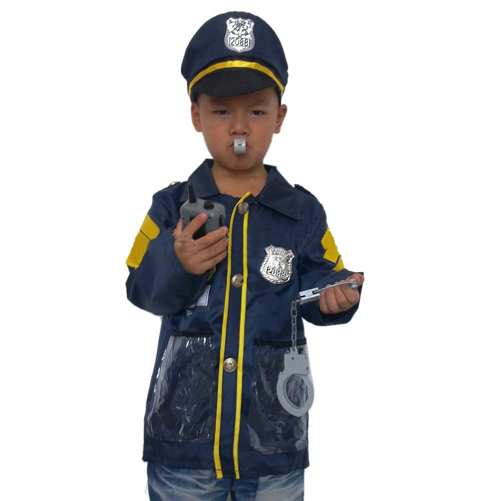 TOPTIE 4 Sets Kids' Role Play Costume Doctor Surgeon Police Officer Fire Chief White by TOPTIE (Image #3)
