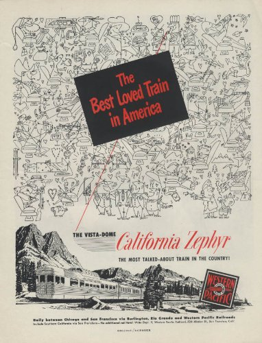 (Best Loved Train in America Western Pacific California Zephyr Vista-Dome ad 1951)