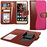 N4U Online® Pink Clip On Dual Fibre Book Wallet Case Cover For Vodafone Smart ultra 6