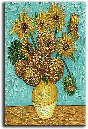 YaSheng Art Van Gogh Oil Paintings On Canvas Sunflower Flower Artwork Modern hand-painted Flowers Art Pictures Home Office Decorations Canvas Wall Art Painting Ready to hang 24x36inch